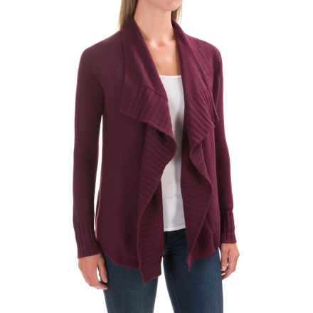 Lilla P Open Cardigan Sweater - Cotton-Cashmere (For Women) in Plum - Closeouts