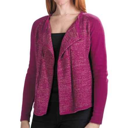 Lilla P Open Cardigan Sweater (For Women) in Fuchsia Lurex - Closeouts