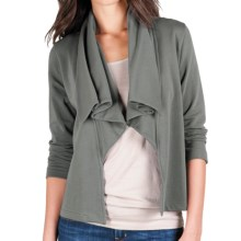 Lilla P Open Drape-Neck Jacket - French Terry, 3/4 Sleeve (For Women) in Asphalt - Closeouts