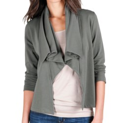 Lilla P Open Drape-Neck Jacket - French Terry, 3/4 Sleeve (For Women) in Black