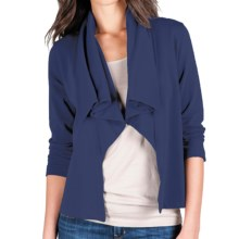 Lilla P Open Drape-Neck Jacket - French Terry, 3/4 Sleeve (For Women) in Peacoat - Closeouts