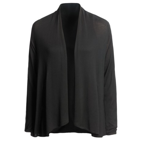 Lilla P Open Draped Cardigan Sweater (For Women) in Black