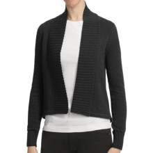 Lilla P Open Hi-Lo Cardigan Sweater - 7gg Cotton Blend (For Women) in Graphite - Closeouts