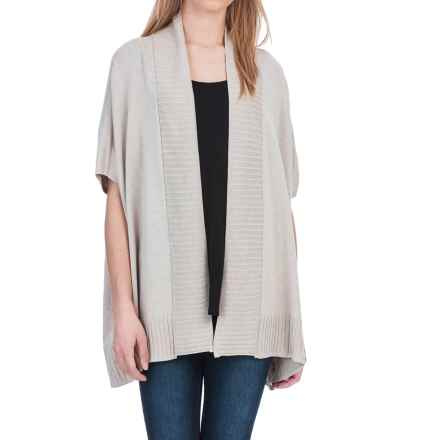 Lilla P Open Shawl Cardigan Sweater - Cotton-Modal, Short Sleeve (For Women) in Barley - Closeouts