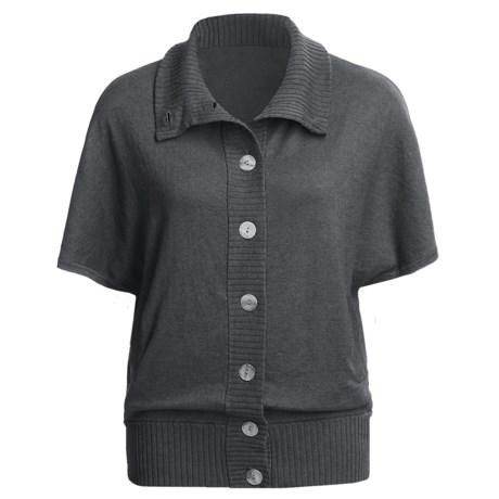Lilla P Oversized Cardigan Sweater - Cotton-Cashmere, Short Dolman Sleeve (For Women) in Aegean