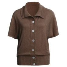 Lilla P Oversized Cardigan Sweater - Cotton-Cashmere, Short Dolman Sleeve (For Women) in Hazelnut - Closeouts