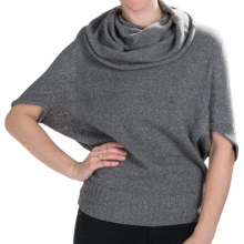 Lilla P Oversized Cowl Neck Sweater - 3/4 Sleeve (For Women) in Chrome Lurex - Closeouts