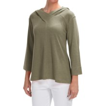 Lilla P Peached Knit Easy Hoodie - 3/4 Sleeve (For Women) in Parsley - Closeouts