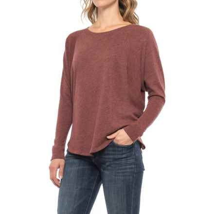 Lilla P Peached Knit Shirt - Scoop Neck, Long Sleeve (For Women) in Mahogany - Closeouts