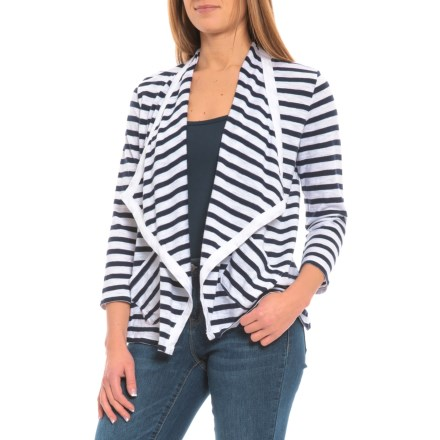 Lilla P Peacoat Stripe Flame Modal Open Cardigan Sweater - 3 4 Sleeve (For e1d1a4399