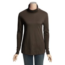 Lilla P Pima Basics Easy Turtleneck - Pima Cotton, Long Sleeve (For Women) in Teak - Closeouts