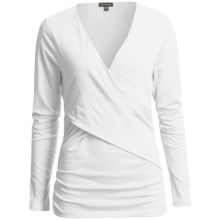 Lilla P Pima Cotton Cross Front Shirt - Ruched Sides, Long Sleeve (For Women) in White - Closeouts