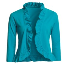 Lilla P Pima Cotton Jersey Bolero Shirt - Ruffled, 3/4 Sleeve (For Women) in Sea - Closeouts