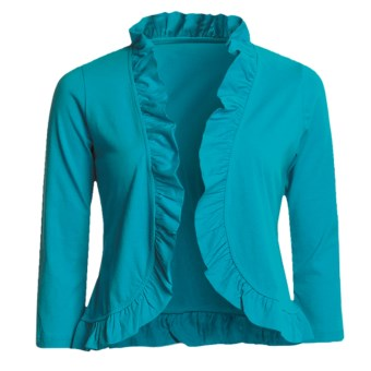 Lilla P Pima Cotton Jersey Bolero Shirt - Ruffled, 3/4 Sleeve (For Women) in Sea