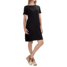 Lilla P Pima Cotton-Modal Dress - Elbow Sleeve (For Women) in Black - Overstock