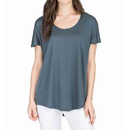 Lilla P Pima Cotton-Modal Slit Back Shirt - Short Sleeve (For Women) in Carbon - Closeouts