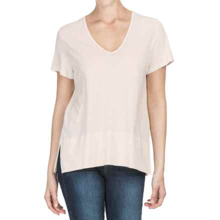 Lilla P Pima Cotton-Modal V-Neck Shirt - Short Sleeve (For Women) in Antique White - Closeouts