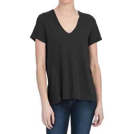 Lilla P Pima Cotton-Modal V-Neck Shirt - Short Sleeve (For Women) in Black - Closeouts