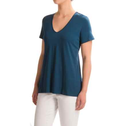 Lilla P Pima Cotton-Modal V-Neck Shirt - Short Sleeve (For Women) in Lake - Closeouts