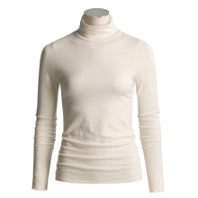 Lilla P Pima Cotton Turtleneck - Long Sleeve (For Women) in Pearl - Closeouts