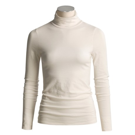 Lilla P Pima Cotton Turtleneck - Long Sleeve (For Women) in Truffle