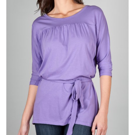 Lilla P Pima Jersey Belted Tunic Shirt - 3/4 Sleeve (For Women) in Hyacinth