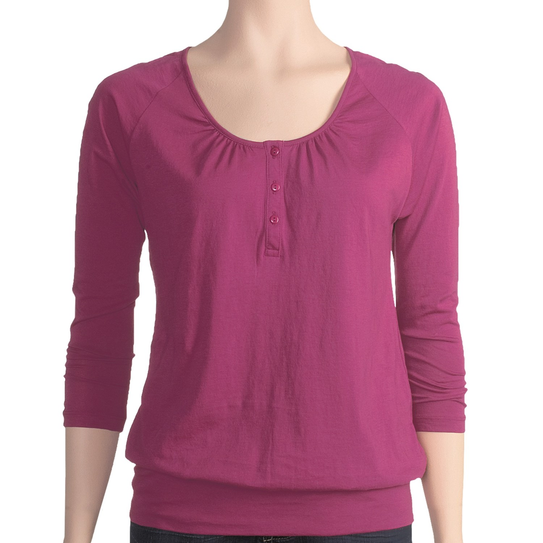 Lilla p pima jersey blouson henley shirt pima cotton 3 for 3 4 henley shirt