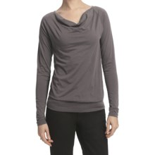 Lilla P Pima Jersey Cowl Neck Shirt - Long Raglan Sleeve (For Women) in Otter - Closeouts