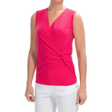 Lilla P Pima Jersey Knot Surplice Tank Top (For Women) in Calypso - Closeouts