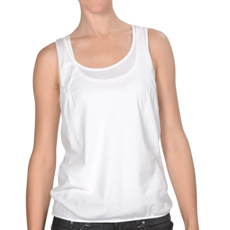 Lilla P Pima Jersey Racerback Tank - Elastic Hem (For Women) in White