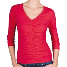 Lilla P Pima Jersey Shirred Shirt - V-Neck, 3/4 Sleeve (For Women) in Loganberry - Closeouts