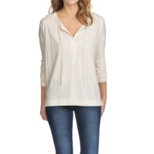 Lilla P Pima-Modal Blend Tie Front Shirt - Long Sleeve (For Women) in Rope - Closeouts
