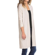 Lilla P Pima-Modal Slub Duster Sweater (For Women) in Snow - Closeouts