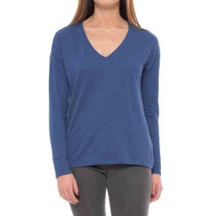 Lilla P Pima-Modal Slub-Seamed Shirt - V-Neck, Long Sleeve (For Women) in Admiral Blue - Closeouts