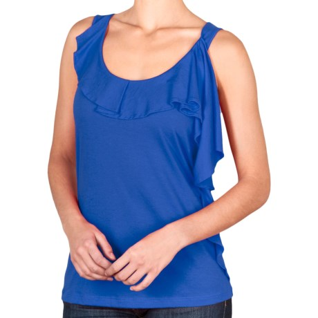 Lilla P Pima-Modal Tank Top - Ruffle Front (For Women) in Atlantis