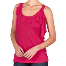 Lilla P Pima-Modal Tank Top - Ruffle Front (For Women) in Cassis - Closeouts
