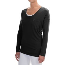 Lilla P Pocket Front T-Shirt - Pima Cotton-Modal, Long Sleeve (For Women) in Black - Overstock
