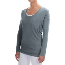 Lilla P Pocket Front T-Shirt - Pima Cotton-Modal, Long Sleeve (For Women) in Carbon - Overstock