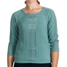 Lilla P Pointelle Cropped Boat Neck Sweater - 5-Gauge, 3/4 Sleeve (For Women) in Malibu - Closeouts