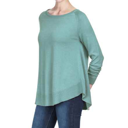 Lilla P Raglan Swing Sweater - Cotton-Modal (For Women) in Stream - Closeouts