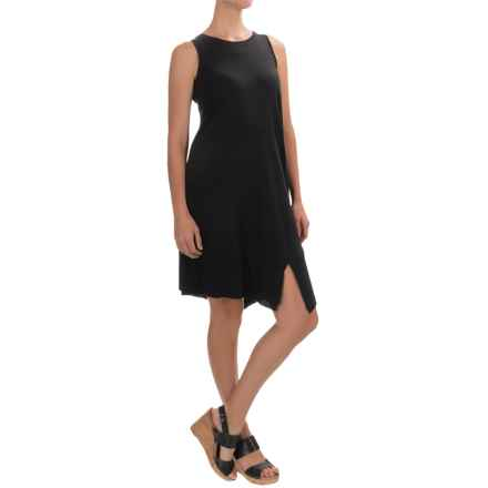 Lilla P Ribbed Bottom Tank Dress - Pima Cotton-Modal, Sleeveless (For Women) in Black - Overstock