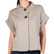Lilla P Rolled Sleeve Jacket - French Terry (For Women) in Biscotti - Closeouts