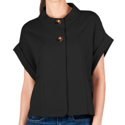 Lilla P Rolled Sleeve Jacket - French Terry (For Women) in Black
