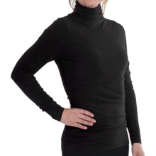 Lilla P Ruched Funnel Neck Shirt - Brushed Jersey, Long Sleeve (For Women) in Black - Closeouts