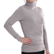 Lilla P Ruched Funnel Neck Shirt - Brushed Jersey, Long Sleeve (For Women) in Fossil - Closeouts