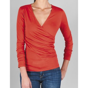 Lilla P Ruched Surplice Shirt - Pima Cotton Jersey, Long Sleeve (For Women) in Wild Ginger
