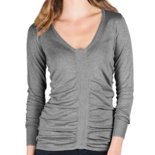 Lilla P Ruched V-Neck Sweater - Cotton-Modal, Long Sleeve (For Women) in Heather Grey - Closeouts
