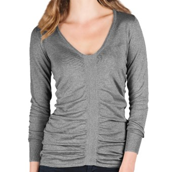 Lilla P Ruched V-Neck Sweater - Cotton-Modal, Long Sleeve (For Women) in Heather Grey