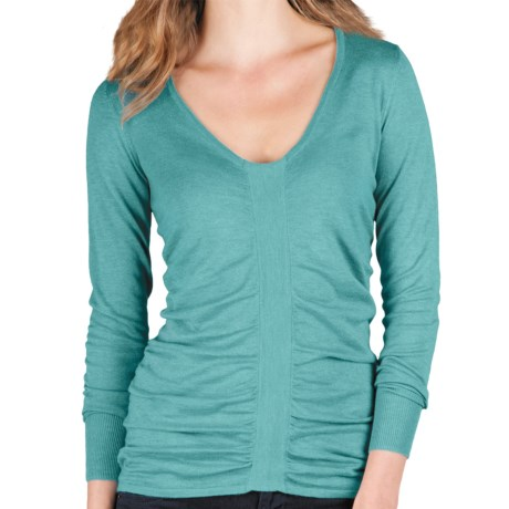 Lilla P Ruched V-Neck Sweater - Cotton-Modal, Long Sleeve (For Women)