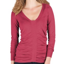 Lilla P Ruched V-Neck Sweater - Cotton-Modal, Long Sleeve (For Women) in Newport
